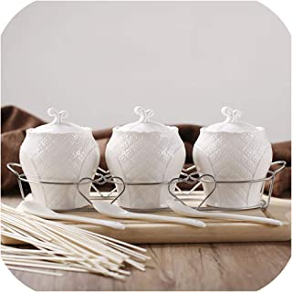 Creative Ceramics Spice Jar Suit Seasoning Box Three Piece Suit Kitchen Storage Home Decorations With Lid With Spoon,A