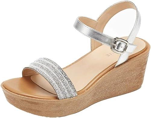 FengQingy Strass Plateforme avec Sandales Sandales Les Les dames été Chaussures à Talons Hauts (Couleur   argent, Taille   40donglu)  juste l'acheter