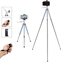 Fotopro Tripod for iPhone, 39.5 Inch Phone Tripods, Lightweight Tripod with Bluetooth Remote/Smartphone Mount, Portable Tripod for Samsung, Huawei (Blue)