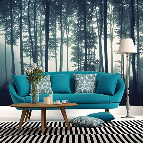 Fotobehang met 3D-dichte mist, bos, boom, wandschildering, woonkamer, tv, slaapkamer, wandschildering, natuur, landschap, behang 500cm (W) x 320cm (H)