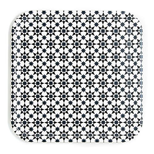 IMAGES D'ORIENT Quadratisches Serviertablett Kaffe Tee Esperesso Kaokab in mediterranem, orientalischem Design aus Furnier Birkenholz 32x32 cm
