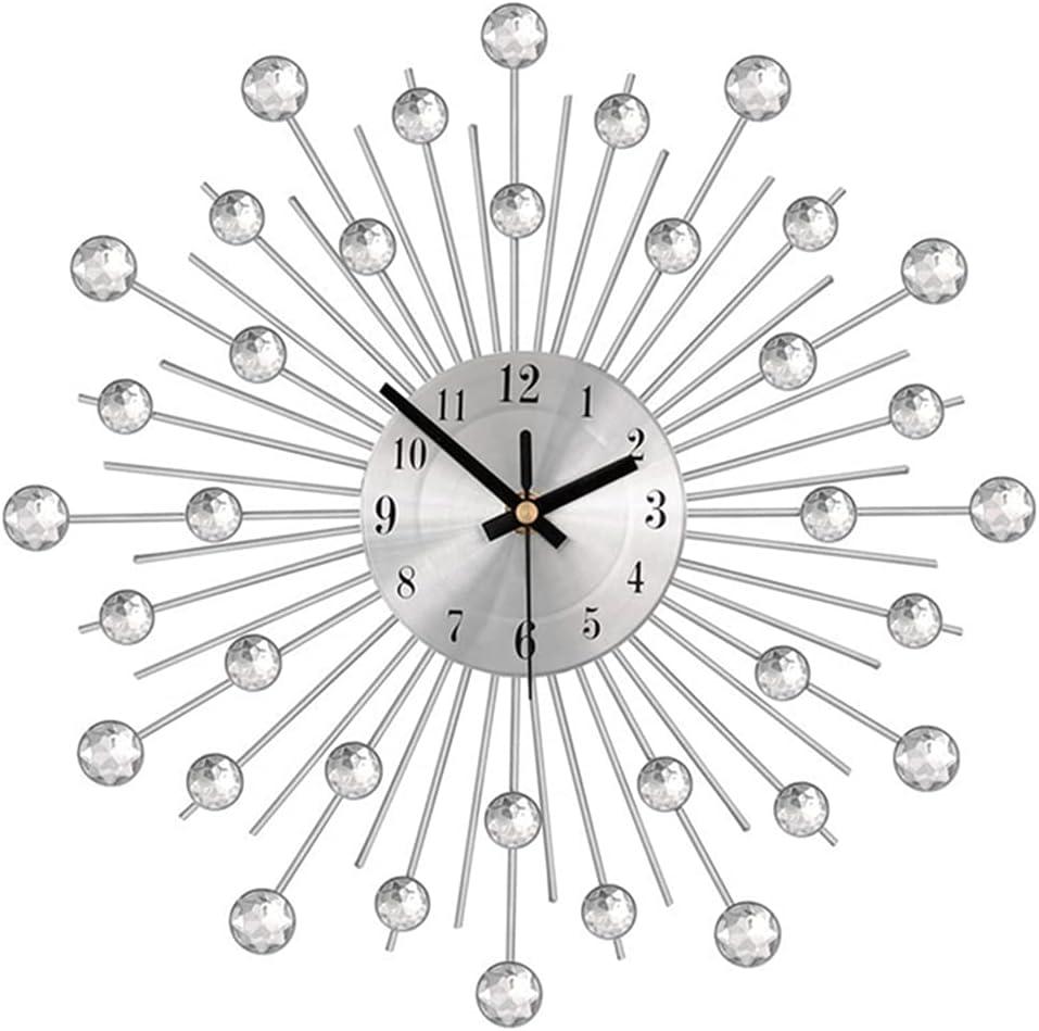 33cm Round Vintage Crystal Sunburst Wall Room Clock Inventory cleanup New item selling sale Metal Living
