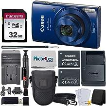 Canon PowerShot ELPH 190 Digital Camera (Blue) + Point & Shoot Camera Case + Transcend 32GB SD Memory Card + Extra Battery...