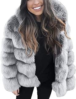 TIMEMEANS Fashion Women's Long Sleeve Hooded Winter Warm Lapel Faux Fur Coat Jacket Coat
