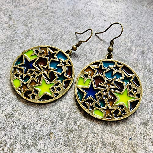 Ohrringe COLORED STARS mehrfarbig bunt Glas Sterne vintage Bronze antik hängend handmade...
