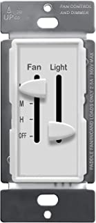 ENERLITES Dual, 3 Speed Ceiling Control and LED Dimmer, 2.5A Single Pole Light Fan Switch, 300W Incandescent Load, No Neutral Wire Required, 17001-F3-W, White