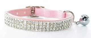 Fashion Adjustable Cat Collar Soft Velvet Safe Collars Bling Diamante with Bells