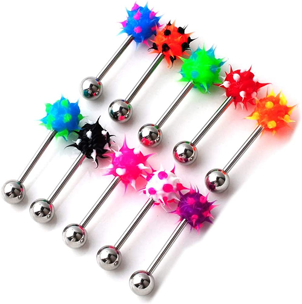 Silicone Soft Spike Barbell Tongue Ring Stud Bars Nipple Ring Piercing Stainless Steel Body Jewelry 10pc