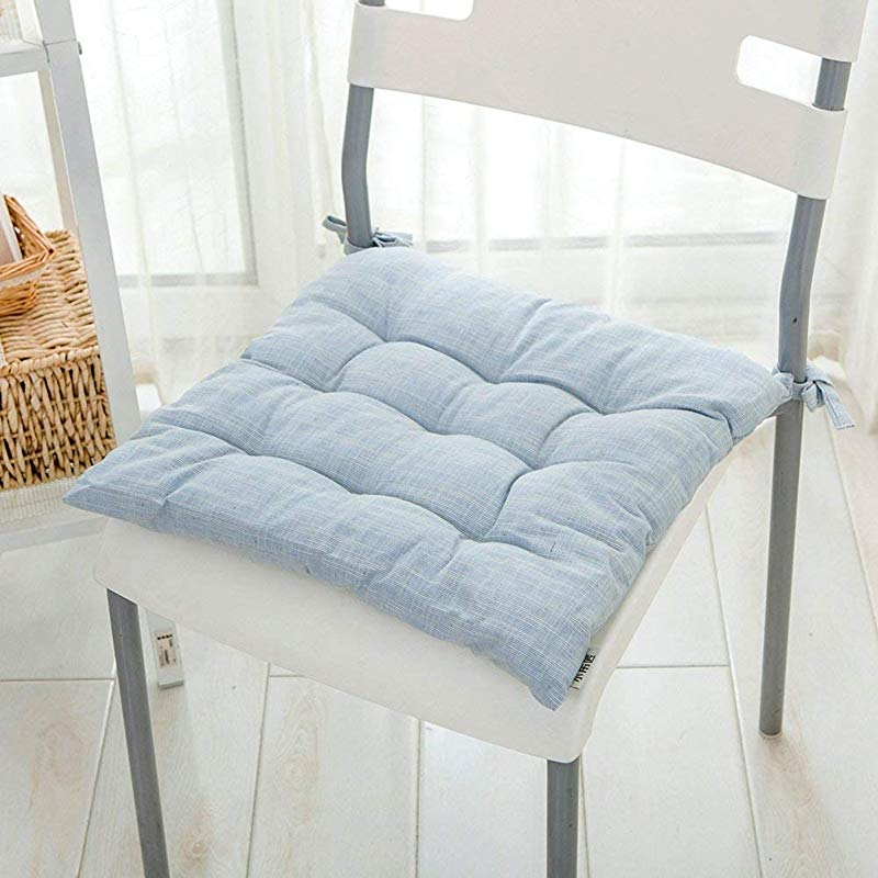 Chair Pads Cotton And Linen Soft Chair Cushion Dining Seat Cushion Four Seasons Office Chair Cushion Small With Ties Light Blue