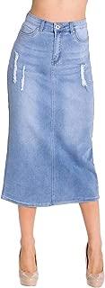 Women's Juniors Long Pencil Stretch Denim Maxi Skirt with Rips