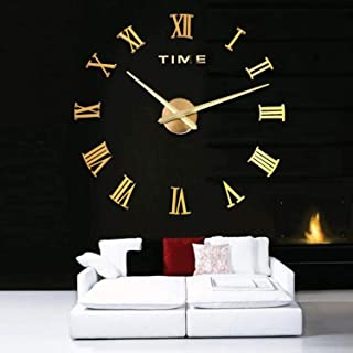 Shentukeji Large Wall Clock Sticker 3D Acrylic Mirror Clock Decoration for Living Room Bedroom Background Battery Operated