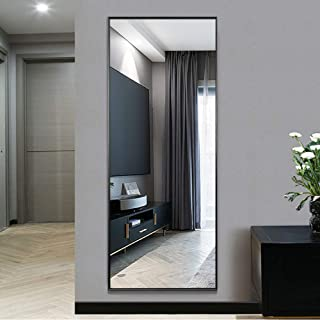 """NeuType Full Length Mirror Standing Hanging or Leaning Against Wall, Large Rectangle Bedroom Mirror Floor Mirror Dressing Mirror Wall-Mounted Mirror, Aluminum Alloy Thin Frame, Black, 65""""x22"""""""