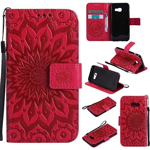 KKEIKO Hülle für Galaxy A3 2017, PU Leder Brieftasche Schutzhülle Klapphülle, Sun Blumen Design Stoßfest HandyHülle für Samsung Galaxy A3 2017 - Rot