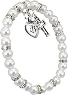 Tina's Jewelry Engraved Initial Cultured Pearl &Stainless Steel Cross Bracelet for BabiesGirls is a Great BaptismFirst Communion Gift