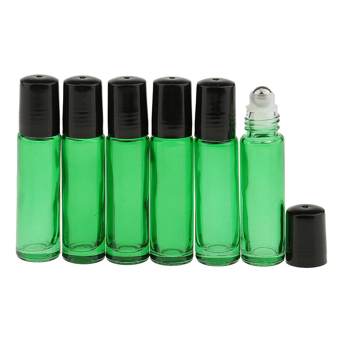 そこ創始者乏しいCUTICATE エッセンシャルオイルボトル 香水ボトル 化粧ボトル ガラスロール 6本セット 10ml 旅行小物 多色選べ - 緑