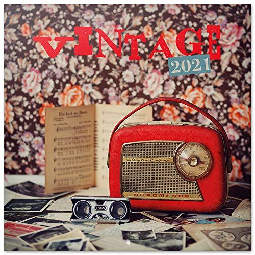 Grupo Erik CP21041 Calendario 2021 da Muro Vintage, calendario 2021 da muro vintage, 16 mesi, 30x30 cm
