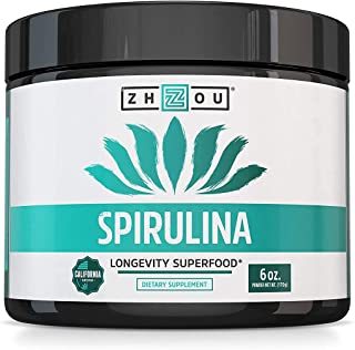 Zhou Spirulina Powder | 100% Vegetarian, No Gluten, Non-GMO & Non-Irradiated | Perfect for Smoothies, Juices & More | 48 S...