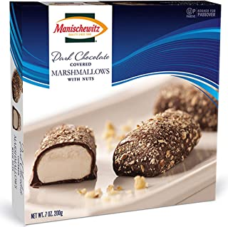 Manischewitz Dark Chocolate Covered Marshmallows With Nuts, Kosher For Passover, 7 Ounce