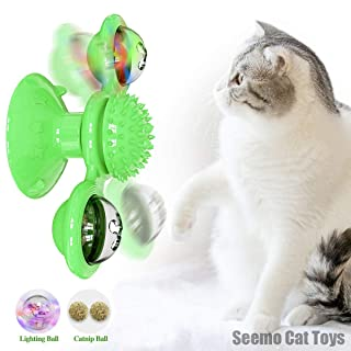 Cat Toy,Windmill Cat Toy,Cat Windmill Toy with Led Ball and Catnip Ball, Cat Turntable Teasing Interactive Toy, Funny Kitt...