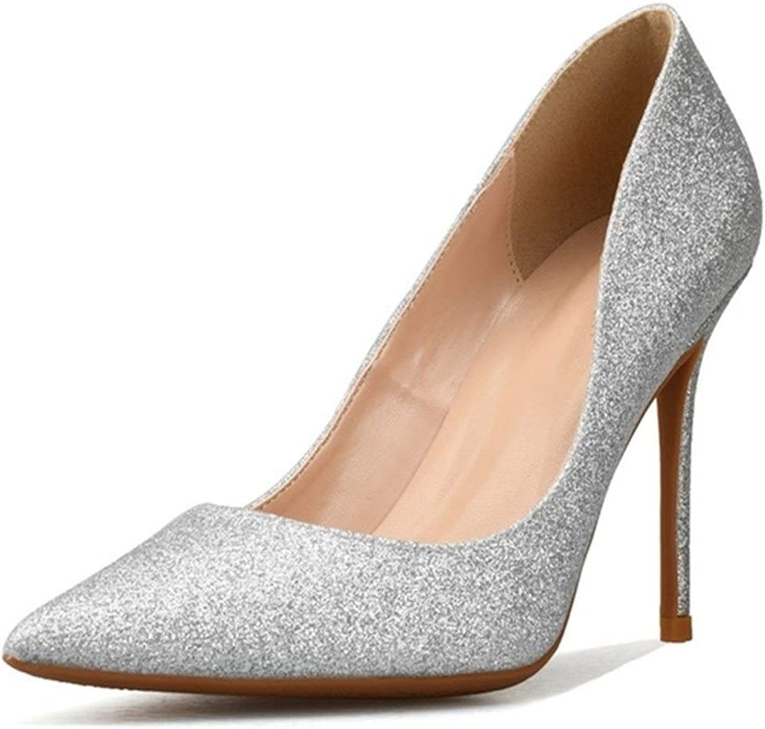 ZerenQ D'Orsay Pumps for Women High Stiletto Heels Glitter Dress shoes Pointed Toe Durable (color   Silver 8 cm Heel, Size   5.5 M US)