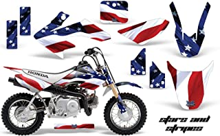 AMR Racing MX Dirt Bike Graphic Kit Sticker Decals Compatible with Honda CRF50 2004-2013 - Stars & Stripes