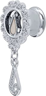 Inspiration Dezigns Tunnels Plugs Mother of Pearl Tear Drop Filigree Screw Fit Double Flared PAIR