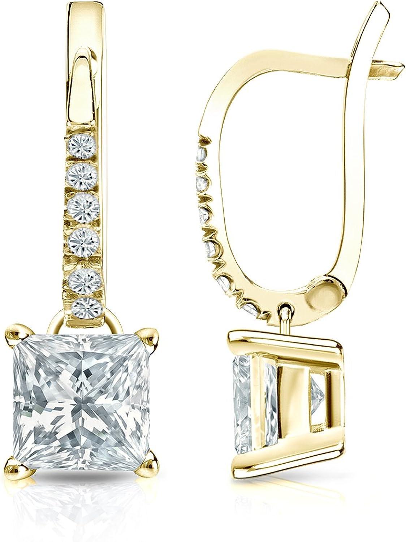 Selling 14k Yellow Gold Princesscut Diamond Basket 4-Prong Challenge the lowest price of Japan ☆ Earrin Dangle