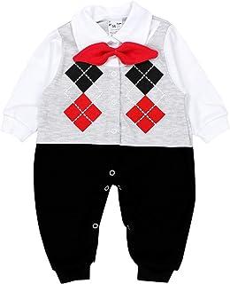 TupTam Baby Jungen Strampler Anzug mit Kragen Fliege
