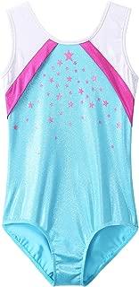 BAOHULU Gymnastics Leotards Little Girls Shiny Black Blue One-Piece Dance Outfit Athletic Bodysuit