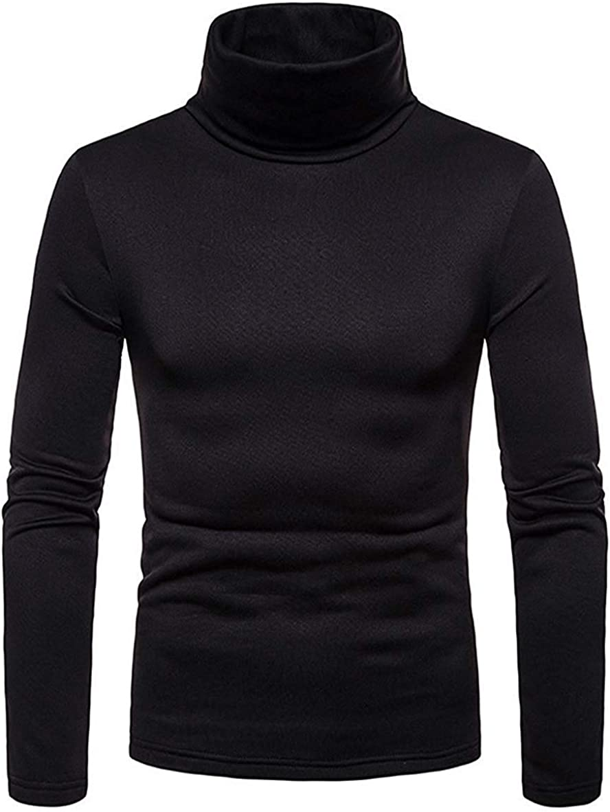 Men's Slim Fit Turtleneck Thermal Shirt Long Sleeves Solid Color Winter Pullover T-Shirt High Collar Thick Top