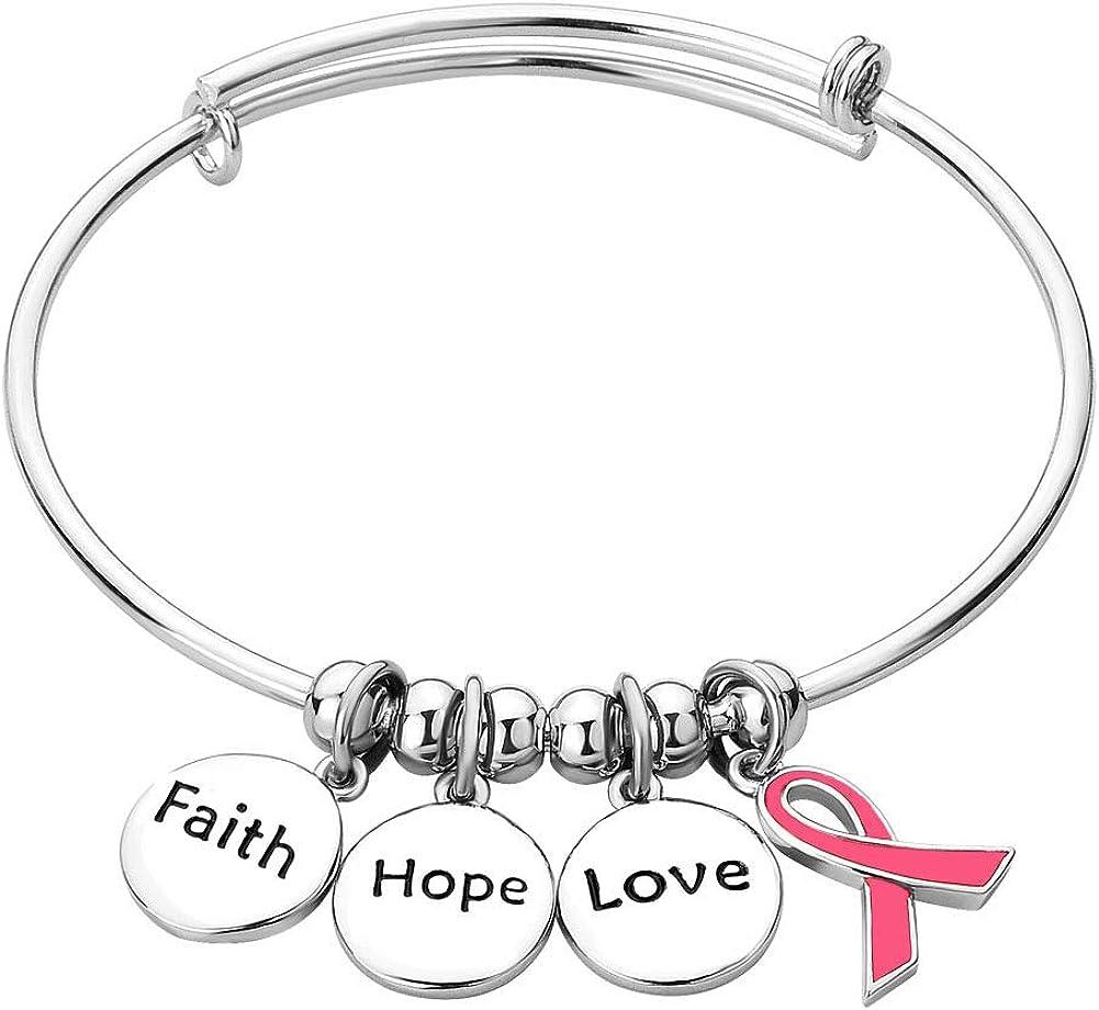 Casa De Novia Jewelry Love Faith Hope Ribbon Breast Cancer Awareness Adjustable Bangle Charm Bracelet Supporting Gifts for Women Mom