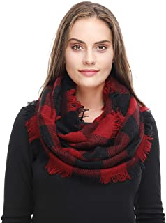Women Winter Checked Pattern Cashmere Feel Warm Plaid Infinity Scarf