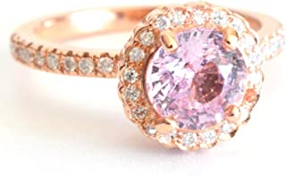 14k rose gold engagement ring with stunning round champagne peach sapphire 1.53CT and Diamonds, micro pave engagement rings