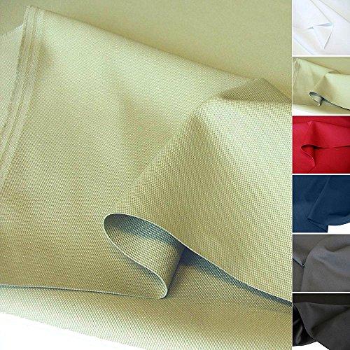 TOLKO Baumwollstoff Meterware mit Polyester | Mittelschwerer Canvas Segeltuch Stoff als Stabiler und Reißfester Polster Möbelstoff zum Nähen und Beziehen (Grün-Beige)