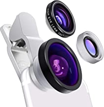 Cell Phone Camera Lens - Yarrashop 3 in 1 HD Clip-On Lens Kit for 180 Degree Fisheye Lens + 0.4X Wide Angle Lens + 10X Macro Lens for iPhone XS Max/ XR Samsung Huawei LG and Other Smartphone (Silver)