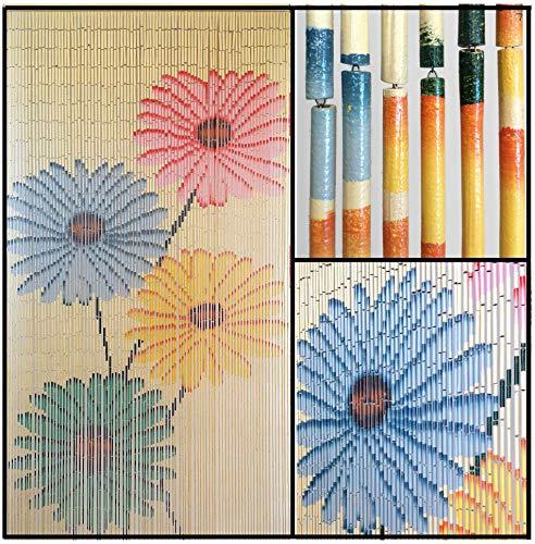 Beaded String Hand Painted Natural Bamboo Wood Beaded Curtain-90 Strands-78 (6.5 ft) High-Boho Door Beads-Bohemian Doorway Curtain-Flowers