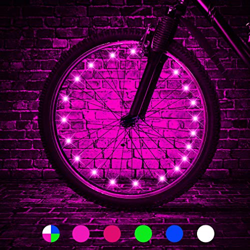 TINANA 2 Tire Pack LED Bike Wheel Lights Ultra Bright Waterproof Bicycle Spoke Lights Cycling Decoration Safety Warning Tire Strip Light for Kids Adults Night Riding (Pink 2pack)