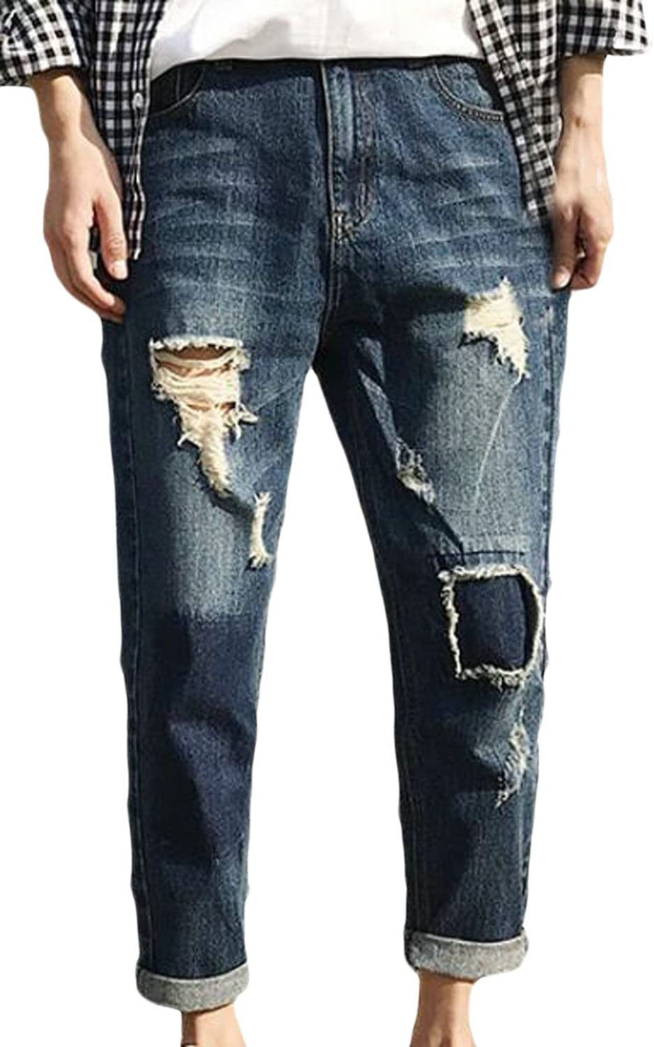e1c165d3e Nanquan-men clothes NQ Men's Distressed Broken Holes Washed Jeans ...