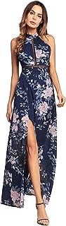 ODCOLTD Women's Sexy Halter Neck Chiffon Dress Floral Print Backless Beach Long Maxi Dresses 2XL RoyalBlue