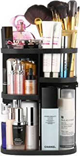 360° Makeup Organizer Adjustable Multi-Function Cosmetic Storage Box, 7 Layers, Compact Size with Large Capacity, Black