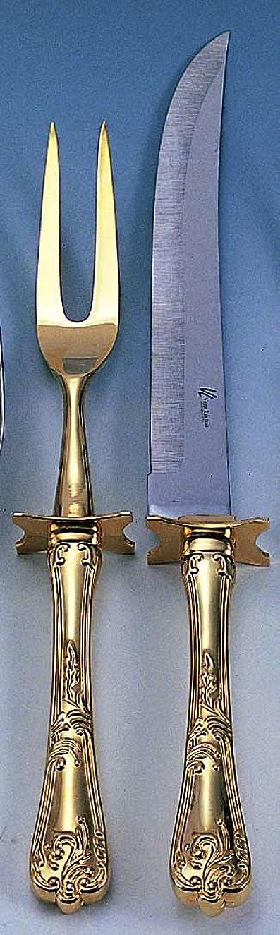 Elegance Silver Gold Plated Carving Set