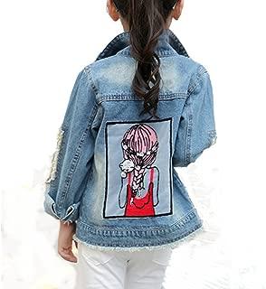 Star Flower Little Big Girls Denim Jackets Coats Outwear (12, Blue)
