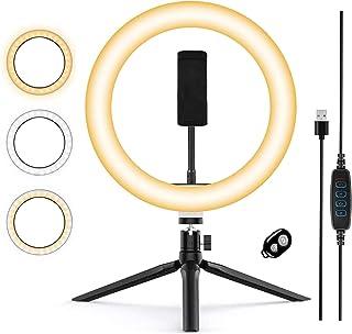 Zoeley Anillo de luz LED, Aro de Luz y Trípode 3 Colores Modo 12 Brillos Regulables, Selfie Ring Light LED Rotación de 360...