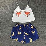 FDRE Animal Cartoon Print Lovely Sleepwear Home Suit Estate Scollo a V Pigiama Sexy Donna Cinturino per Spaghetti Allentato Pijama Satin S 06