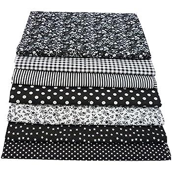 7pieces negro 50cm * 50cm tela de algodón para patchwork de costura de bricolaje,telas para hacer patchwork, telas tilda, retales de telas, tela algodon por metros: Amazon.es: Hogar