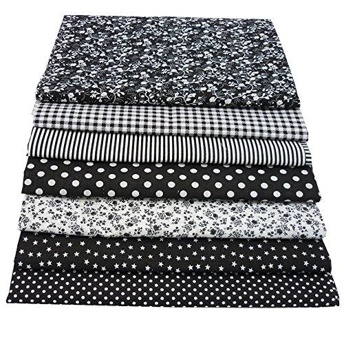 7 Stück 49cm * 49cm schwarz Baumwollstoff,patchwork stoffe,baumwollstoff meterware,stoffe patchwork stoffpaket