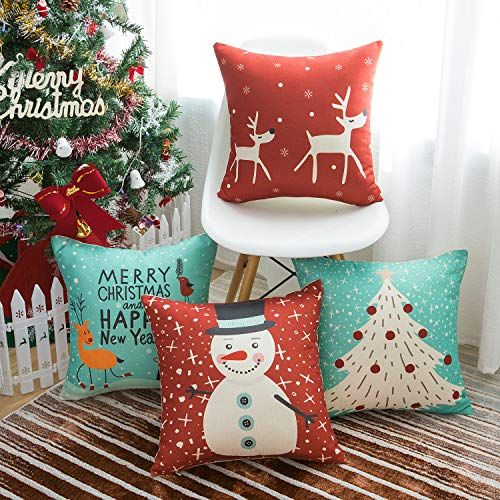 WLNUI Set of 4 Christmas Pillow Covers 18x18 Red and Blue Merry Christmas Decorative Throw Pillow Covers Square Cushion Case for Couch Sofa Indoor Outdoor Home Farmhouse Decor