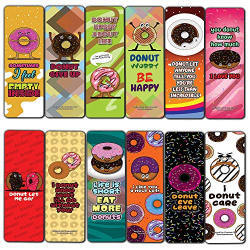 Funny Donuts Sayings Bookmarks (30-Pack) - Stocking Stuffers Encouragement Gifts for Boys, Girls, Teen, Men Women - Incentive Reward Ideas