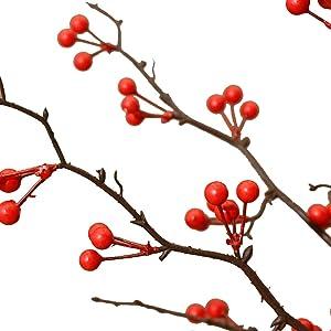 WXH Artificial flower Fake Flower Good Luck, Fruit, Berry, Artificial Flower, Living Room, Decorative Bouquet, Old Vase, Floral Decoration (Color : Red)