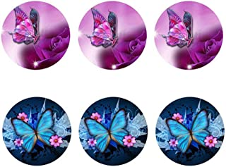 SANNOVO Butterfly Round Coasters for Drinks Office Home Coffee Cups Mats Cute Dog Printed Set 6 Pcs Anti-slip Coaster Furniture Protector